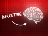 Marketing brain background knowledge science blackboard red — Stock fotografie