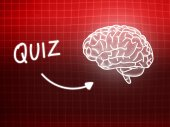 Quiz brain background knowledge science blackboard red — 图库照片