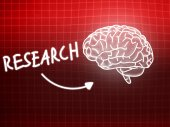 Research brain background knowledge science blackboard red — Stock fotografie
