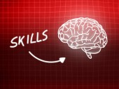 Skills brain background knowledge science blackboard red — 图库照片