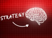 Strategy brain background knowledge science blackboard red — 图库照片