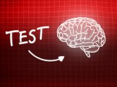 Test brain background knowledge science blackboard red — Stock Photo