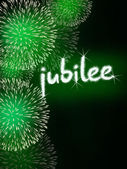 Jubilee anniversary firework celebration party green — Stock Photo
