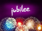 Jubilee anniversary firework celebration party pink — Stock Photo