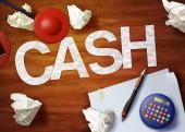 Cash desktop memo calculator office think organize — Stock fotografie