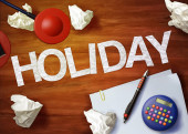 Holiday desktop memo calculator office think organize — Stock Photo