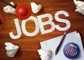 Jobs desktop memo calculator office think organize — Stockfoto