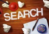 Search desktop memo calculator office think organize — Stock fotografie
