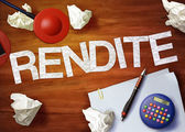 Rendite desktop memo calculator office think organize — Stock Photo