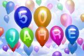 German 50 years balloon colorful balloons — Stock Photo