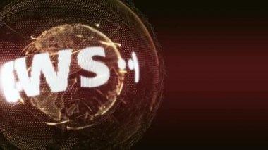 World News Globe Intro Teaser orange — Stock Video