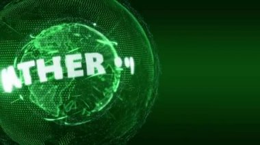 World News weather Globe Intro Teaser green — Stock Video