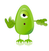 Green monster character expressions funny — Stock Photo