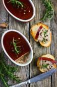 Chicken liver pate with red wine jelly — Stock Photo