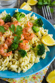 Pasta with broccoli and shrimps — Stock Photo