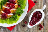 Roasted chicken breast with cranberry sauce for christmas dinner — Stock Photo