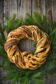 Saffron and cinnamon bread wreath — Stock Photo