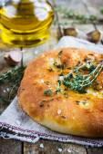 Italian focaccia bread thyme and garlic — Stock Photo