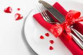 Romantic table setting for Valentines day — Stock Photo