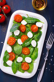 Salad with cherry tomatoes, spinach and mozzarella — Stock Photo