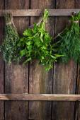 Bunch of thyme, dill and parsley hanging  on old wooden board — Stock Photo