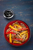 Stir fry ork and vegetables with sesame seeds — Photo