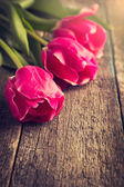 Three pink tulips on wooden table, toned — 图库照片
