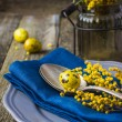 Easter table setting with spring flower and eggs on wooden backg — Stock Photo #67422431