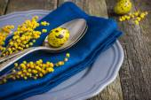 Easter table setting with spring flower and eggs on wooden backg — Stock Photo