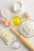 Ingredients for baking on the white wooden table — Stock Photo
