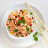 Rice with vegetables and shrimps — Stock Photo