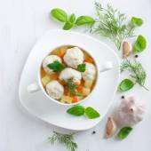 Soup with chicken meatballs and vegetables — Stock Photo