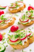 Bruschetta with feta cheese — Stock Photo