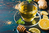 Ginger tea with lemon and honey — Stock Photo