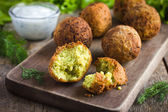 Chickpeas falafel with tzatziki sauce — Stock Photo