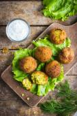 Chickpeas falafel with tzatziki sauce — Stock Photo