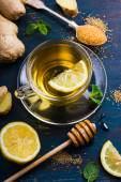 Ginger tea with lemon and honey — Stock Photo