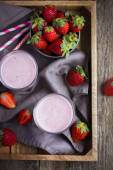 Glass of fresh strawberry milkshake — Stock Photo