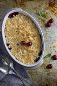 Sweet cherry crumble cake, top view — Stock Photo