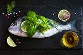 Verse rauwe dorado vis met specerijen en kruiden — Stockfoto