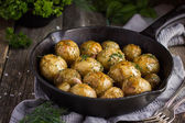 Oven Baked potatoes with herbs — Stock Photo
