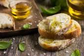 Italian ciabatta  bread with olive oil — Stock Photo
