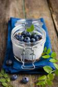 Pudding  with chia seeds, granola andblueberry — Stock Photo