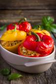Stuffed peppers with meat, rice and vegetables — Stock Photo