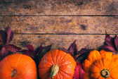 Autumn food background with pumpkins and colored leaves — Stock Photo
