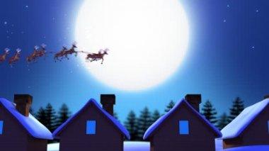 Santa Claus over Moon — Stock Video