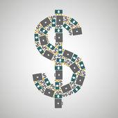 Pattern dollar — Stock Vector