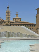 Fountain in the Plaza de Nuestra Señora del Pilar in the city of Zaragoza. — Foto Stock
