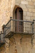 Architectural detail Carvajal Palace in the historical city of Caceres — Stock Photo