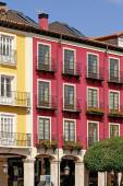 Architectural detail of dwellings in the Main Square the historic center of the city of Burgos — Stock Photo